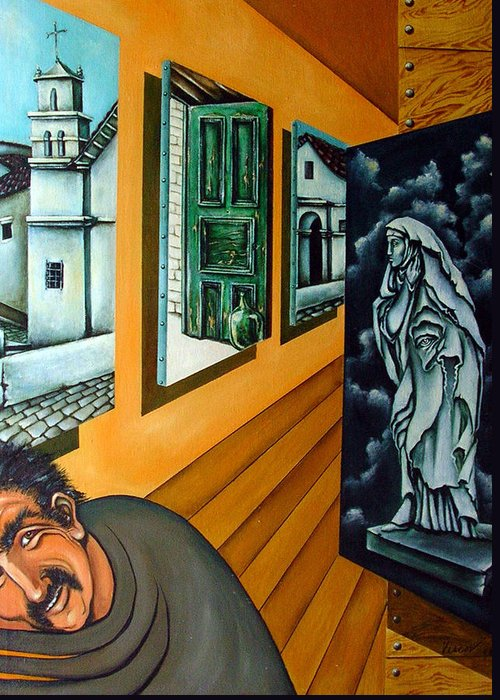 Surreal Greeting Card featuring the painting Asylum by Valerie Vescovi