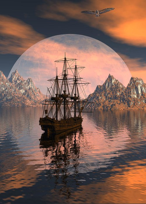 Bryce 3d Digital Fantasy Scifi Windjammer Sailing Greeting Card featuring the digital art At Anchor by Claude McCoy