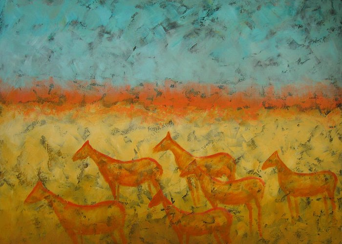 Landscape Greeting Card featuring the painting At Dawn by Aliza Souleyeva-Alexander