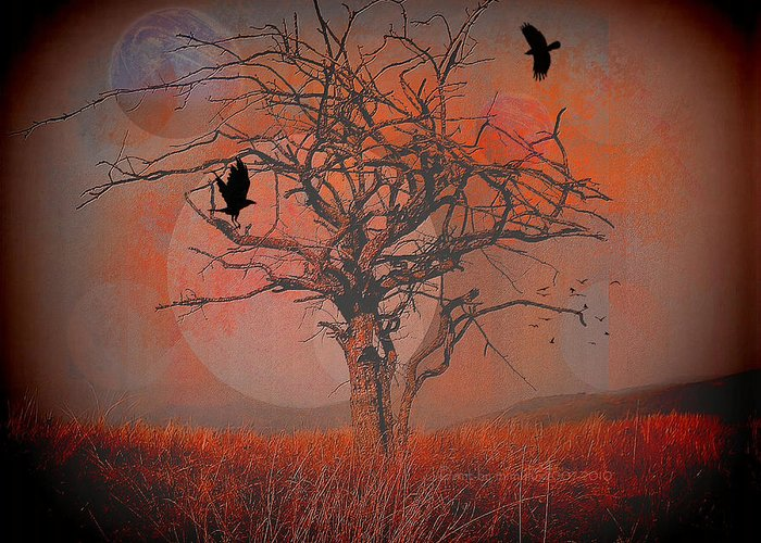 Dusk Greeting Card featuring the digital art at Dusk by Mimulux patricia No