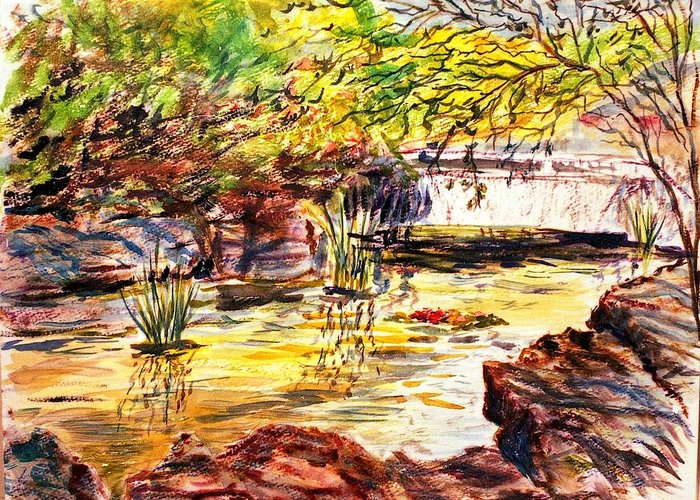 Watercolor Greeting Card featuring the painting At Forest Park by Horacio Prada