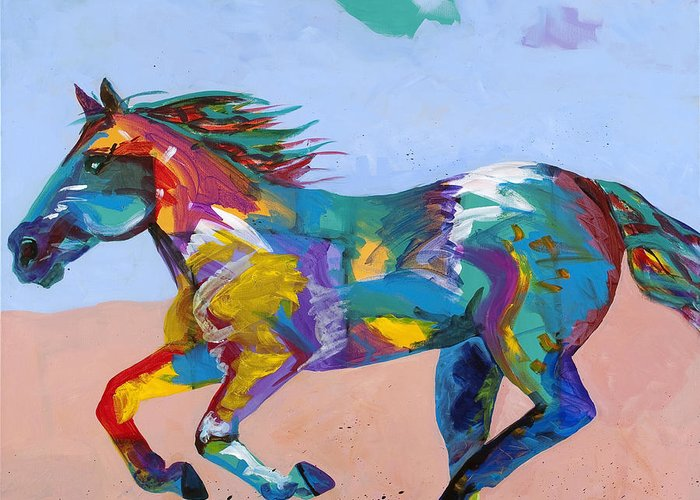 Horse Greeting Card featuring the painting At Full Gallop by Tracy Miller
