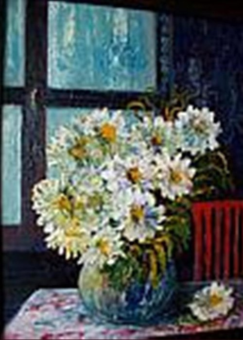 By The Window Greeting Card featuring the painting At Home by Carol P Kingsley