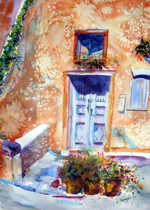 Santorini Greeting Card featuring the painting At Home in Santorini Greece by Warren Thompson