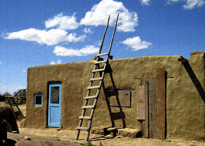 Taos Greeting Card featuring the photograph At Home Taos Pueblo by Kurt Van Wagner
