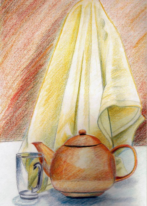 Pot Greeting Card featuring the painting At Kitchen by Zara GDezfuli