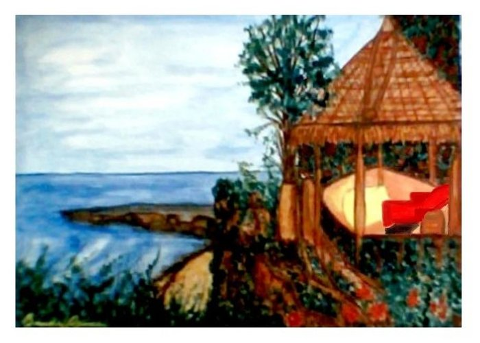 Beaches Greeting Card featuring the painting At Kuta Beach by Brenda L Spencer
