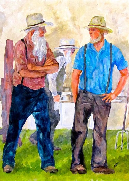Men Greeting Card featuring the painting At The Auction by Barbara O'Toole
