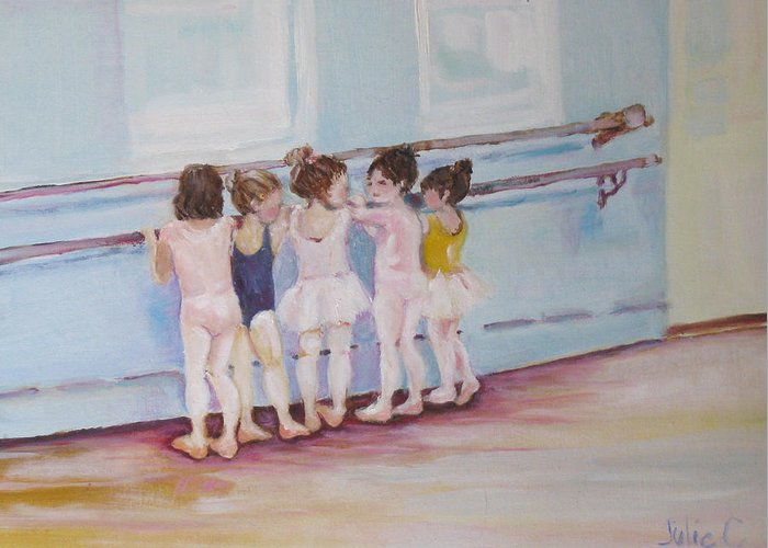 Girls Greeting Card featuring the painting At The Barre by Julie Todd-Cundiff