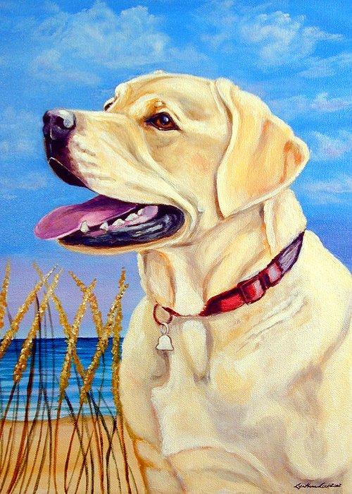 Labrador Retriever Greeting Card featuring the painting At The Beach - Labrador Retriever by Lyn Cook