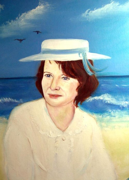 Landscape Greeting Card featuring the painting At The Beach In Deauville by Michela Akers