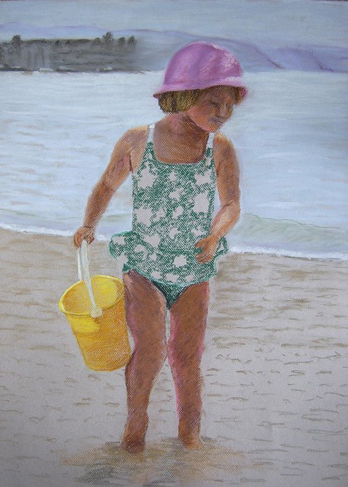 Portrait Greeting Card featuring the pastel At The Beach by Marina Garrison