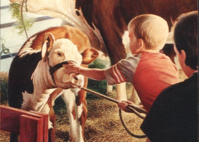 Cow Greeting Card featuring the painting At The County Fair by Hans Droog