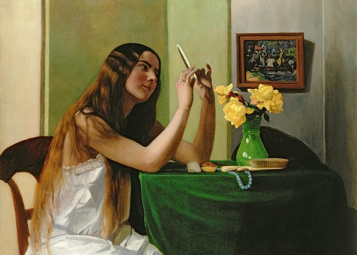 The Greeting Card featuring the painting At The Dressing Table by Felix Edouard Vallotton