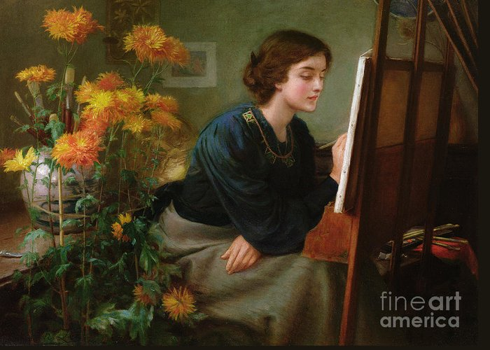 Female; Artist; Painting; Studio; Flowers; Interior; Victorian Greeting Card featuring the painting At The Easel by James N Lee