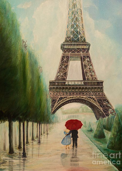 Eiffel Tower Greeting Card featuring the painting At The Eiffel Tower by Zina Stromberg