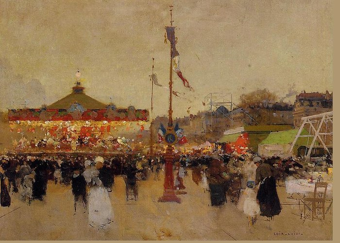 At The Fair (oil On Canvas) By Luigi Loir (1845-1916) Fair; Fairground; Fete; Carousel; Merry-go-round; Figures; Crowd; Crowds; France; French; Flag; Flags; Tricolour; Impressionist; Impressionism; Attraction Greeting Card featuring the painting At The Fair by Luigi Loir