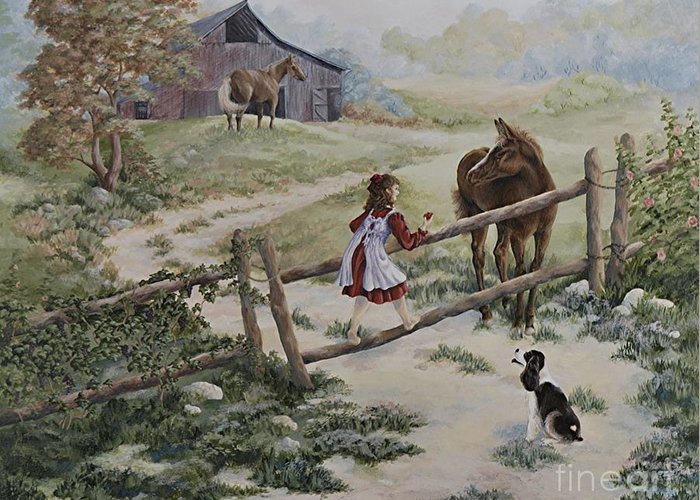 Farm Greeting Card featuring the painting At the Farm by Kathleen Keller