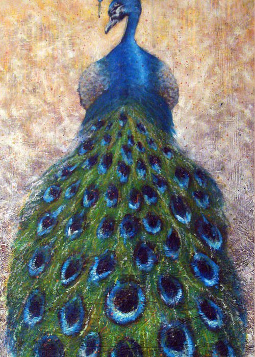 Peacocks Greeting Card featuring the painting At The Gates by Mark M Mellon