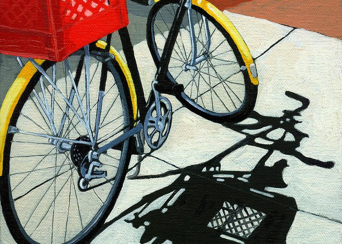 Bicycle Greeting Card featuring the painting At The Grocery by Linda Apple