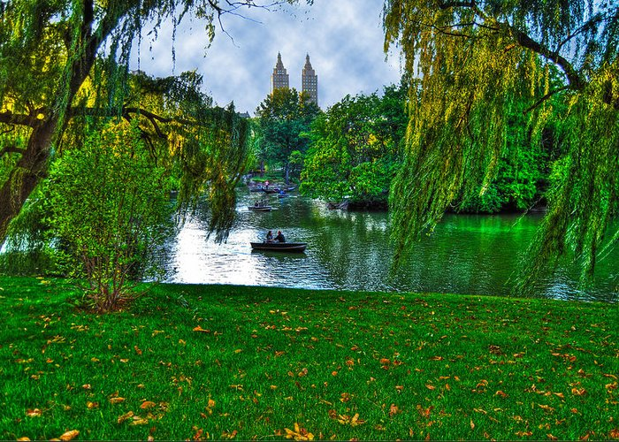 Lake Greeting Card featuring the photograph At The Lake In Central Park by Randy Aveille