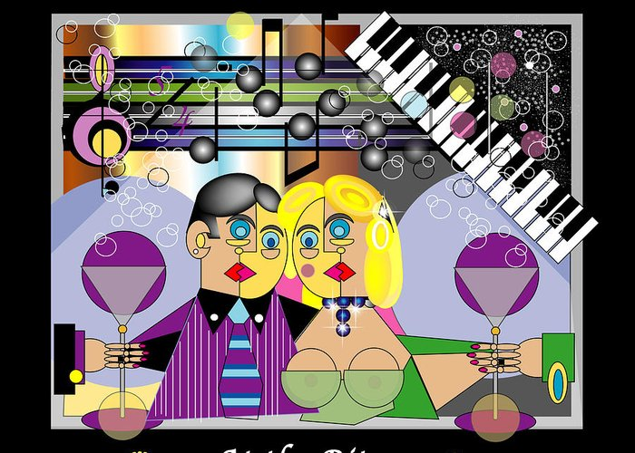 Mgiclee Greeting Card featuring the digital art At The Ritz Bar by George Pasini