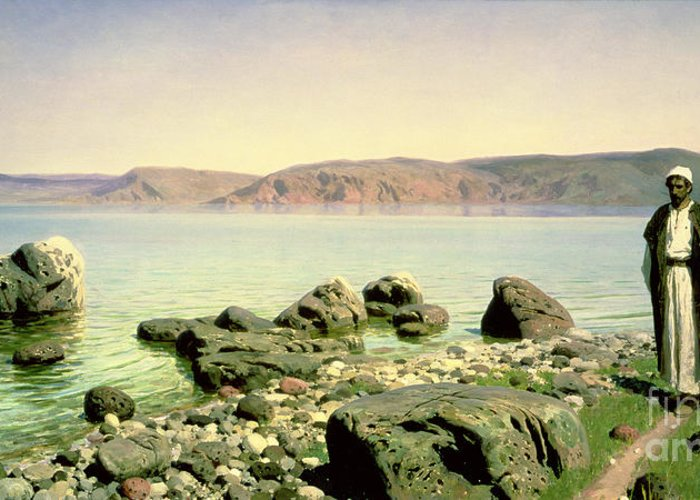 The Greeting Card featuring the painting At The Sea Of Galilee by Vasilij Dmitrievich Polenov