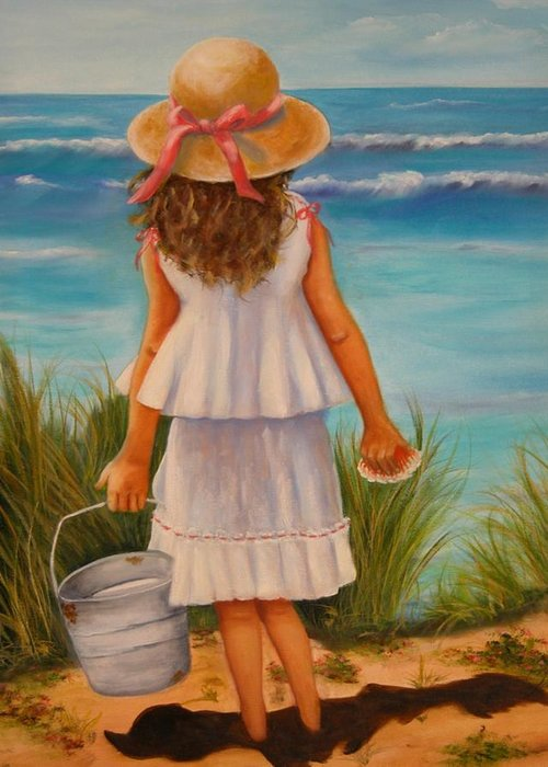 Children Greeting Card featuring the painting At The Seashore by Joni McPherson
