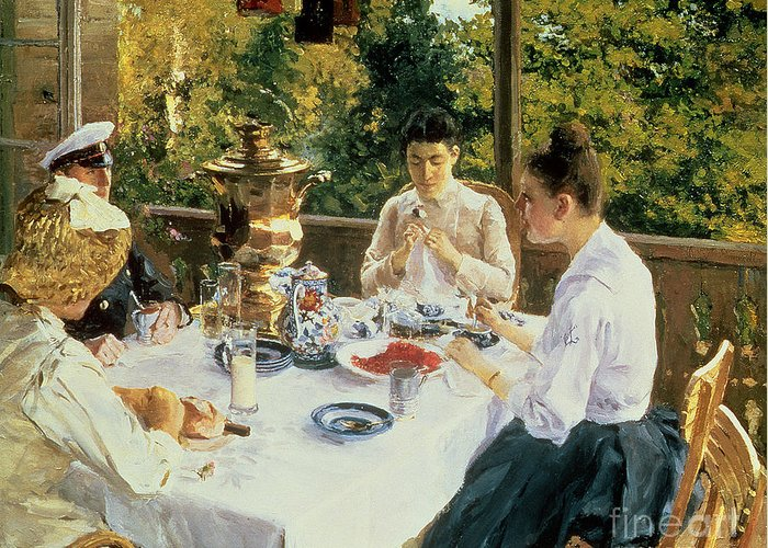 The Greeting Card featuring the painting At The Tea-table by Konstantin Alekseevich Korovin