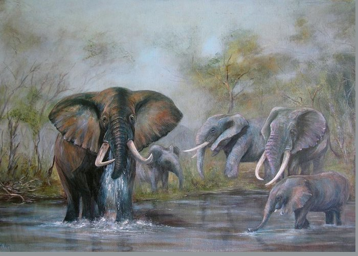 Wildlife Greeting Card featuring the painting At The Waterhole by Rita Palm