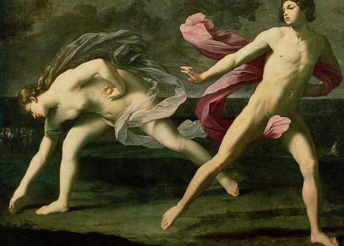 Atalanta And Hippomenes Greeting Card featuring the painting Atalanta And Hippomenes by Guido Reni