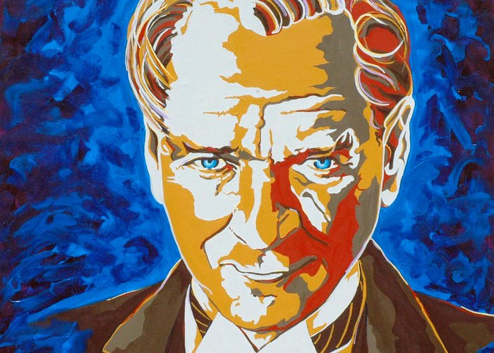 Turkey Greeting Card featuring the painting Ataturk by Dennis McCann