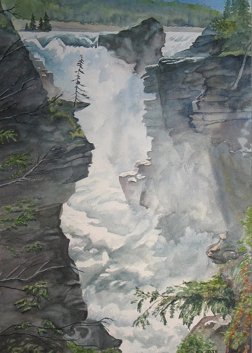 Athabasca Greeting Card featuring the painting Athabasca Falls Alberta by Debbie Homewood