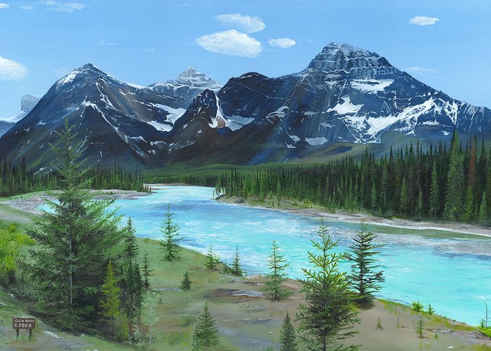 Athabasca River;canadian Rockies;rocky Mountains;jasper Greeting Card featuring the painting Athabasca River by Glen Frear