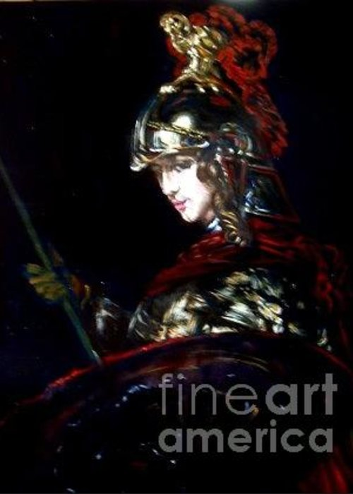 Classical Painting Greeting Card featuring the painting Athena After Rembrandt by Hidemi