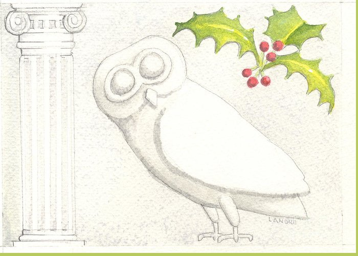 Owl Greeting Card featuring the painting Athenian Owl by Lilibeth Andre