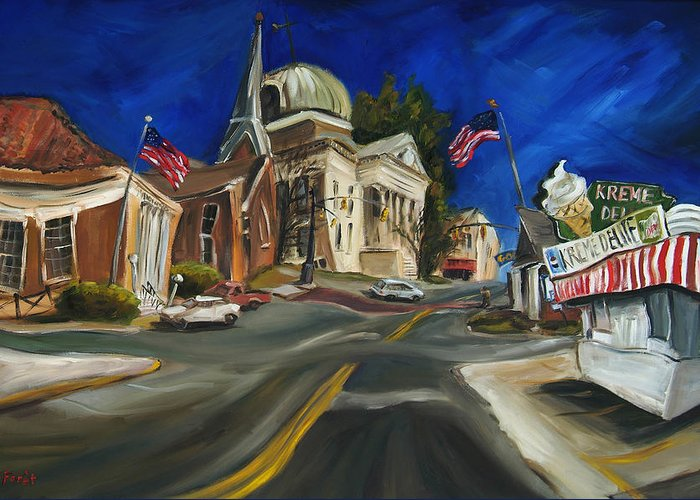 Athens Al Greeting Card featuring the painting Athens Al by Carole Foret