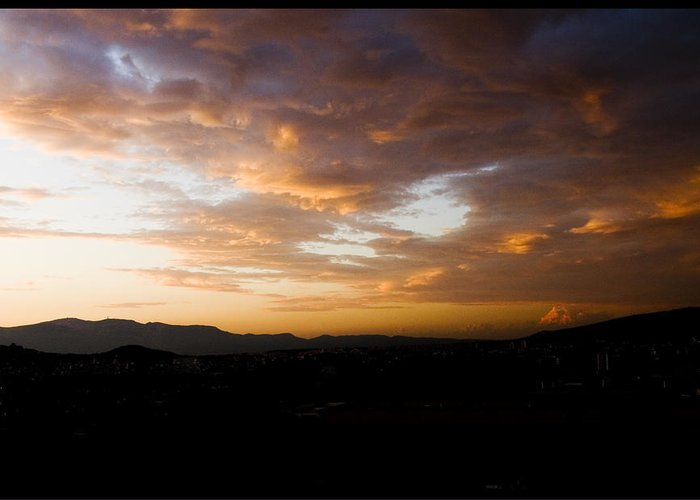 Sunset Greeting Card featuring the photograph Athens Sunset by Julia Bridget Hayes
