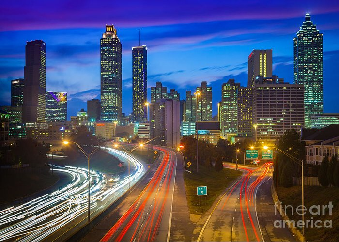 America Greeting Card featuring the photograph Atlanta Downtown By Night by Inge Johnsson