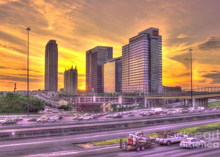Reid Callaway Midtown Atlanta Greeting Card featuring the photograph Atlanta Midtown Atlantic Station Sunset by Reid Callaway