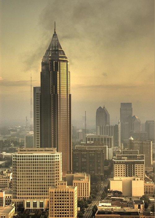 Atlanta Greeting Card featuring the photograph Atlanta Skyline At Dusk by Robert Ponzoni