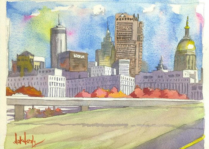 Atlanta Greeting Card featuring the painting Atlanta Skyline Color by Scott Serafy