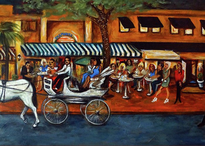 Horse & Buggy Greeting Card featuring the painting Atlantic Avenue by Valerie Vescovi