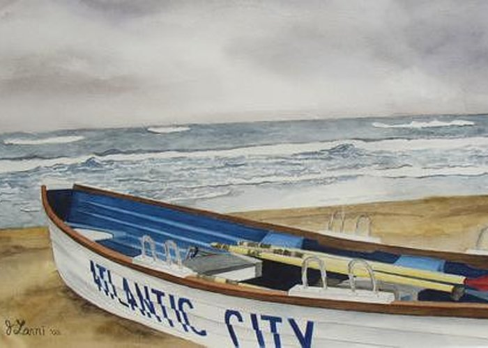 Landscape Greeting Card featuring the painting Atlantic City by Joe Lanni