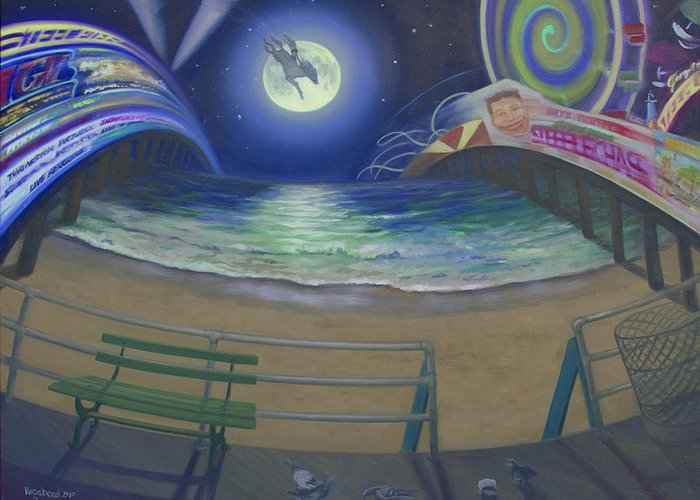 Full Moon Greeting Card featuring the painting Atlantic City Time Warp by Suzn Smith