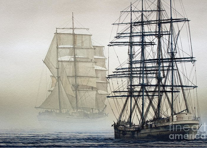 Tall Ship Print Greeting Card featuring the painting Atlas And Inverclyde by James Williamson