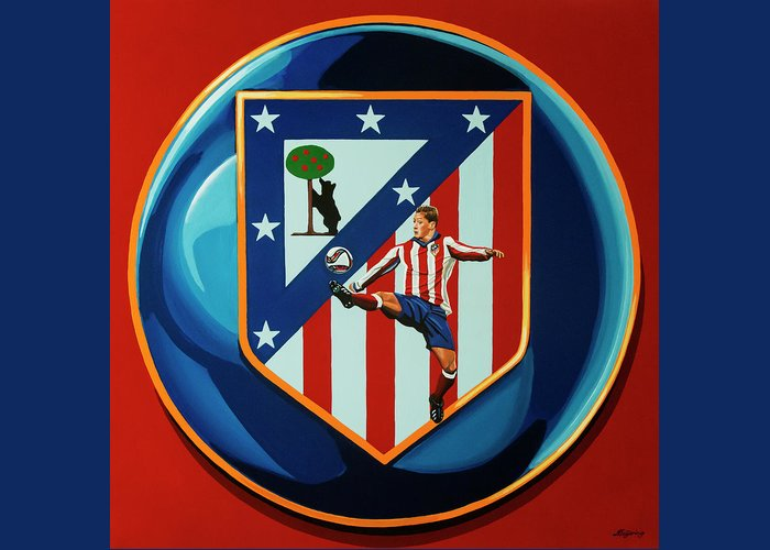 Atletico Madrid Greeting Card featuring the painting Atletico Madrid Painting by Paul Meijering