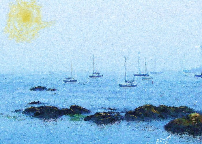 Sail Sailing Harbor Ocean Sea Marblehead Mass Bay Greeting Card featuring the painting Attente Pour La Brise by Eddie Durrett