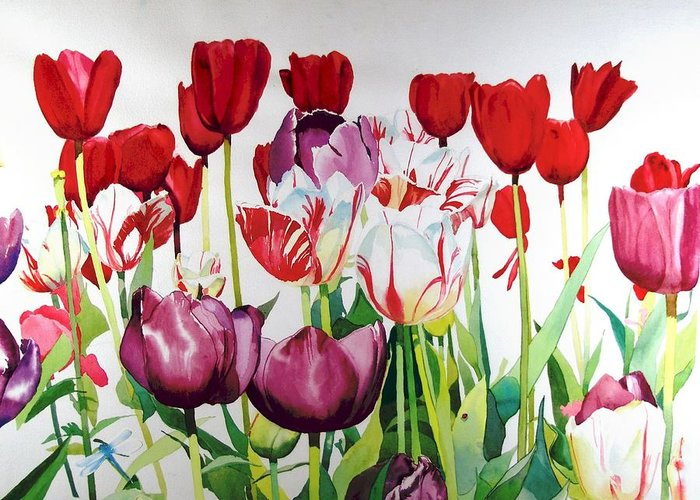 Tulips Greeting Card featuring the painting Attention by Elizabeth Carr
