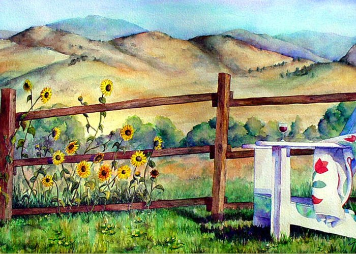 Adirondack Chair Greeting Card featuring the painting Attitude Adjustment by Mary Giacomini